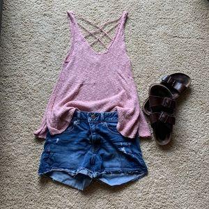 Pink knit tank top